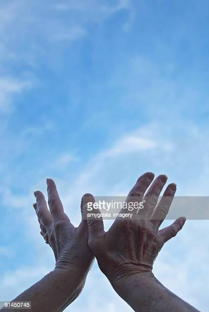 hands reaching into sky