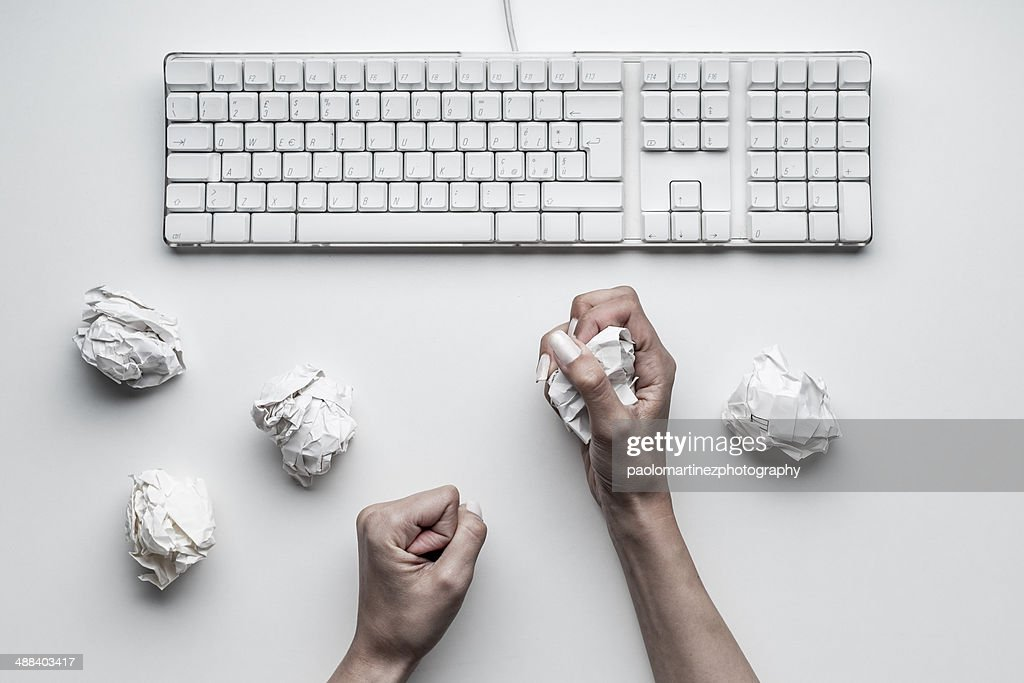 Hands secretary stressed view from above : Stock Photo