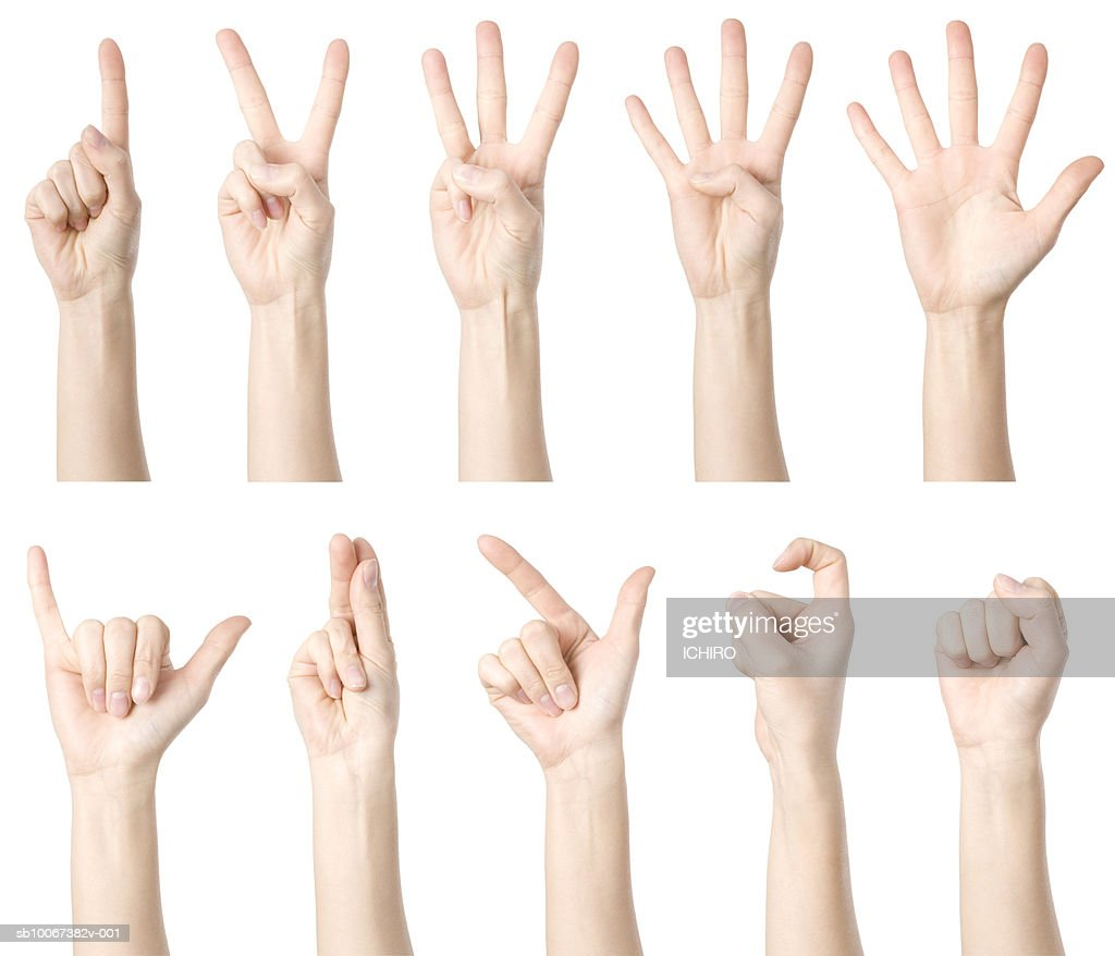 Hands showing Chinese way of counting : Stock Photo