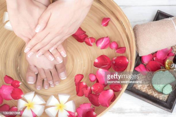 hands spa.manicure concept - pedicure stock pictures, royalty-free photos & images