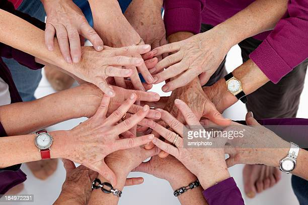 hands stick together - liver spot stock photos and pictures