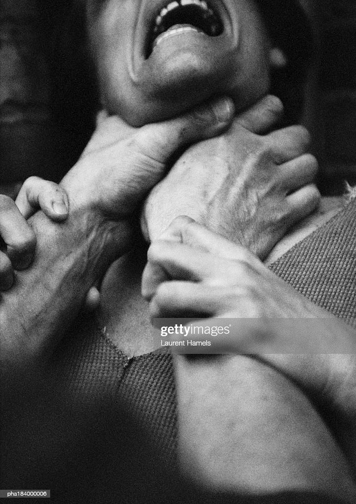 hands strangling woman closeup bw photo getty images