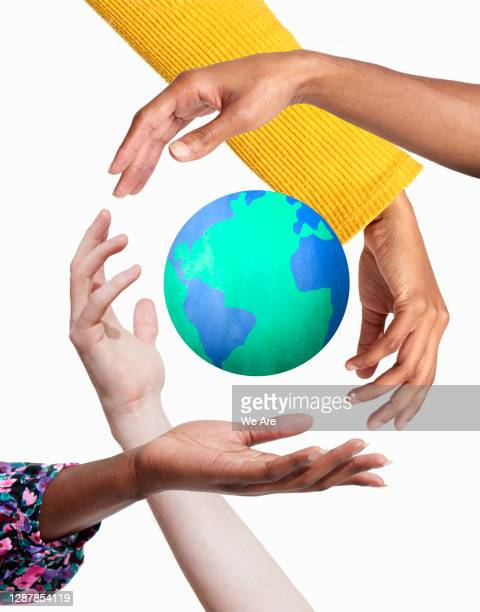 hands surrounding earth - protection stock pictures, royalty-free photos & images