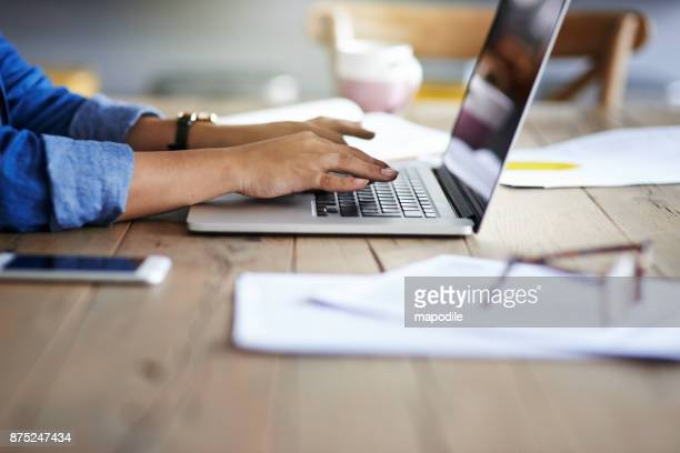 hands that make productivity happen - person on laptop stock pictures, royalty-free photos & images