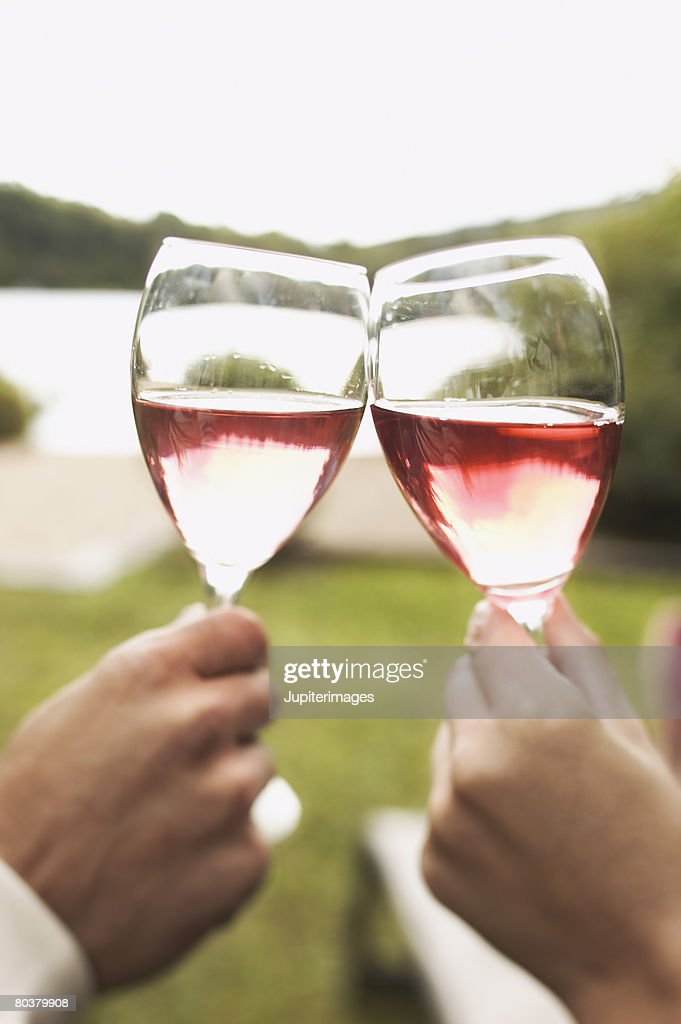 Hands toasting with wine : Bildbanksbilder
