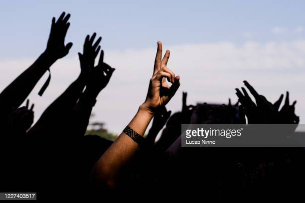 hands up - concert - forbidden stock pictures, royalty-free photos & images