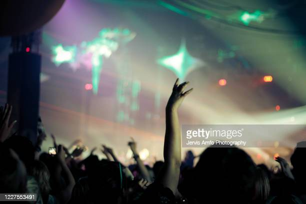 hands up enjoying a music concert - nightclub stock pictures, royalty-free photos & images