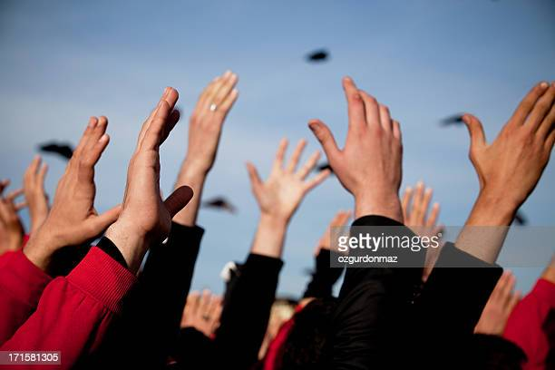 hands up - campaigner stock pictures, royalty-free photos & images