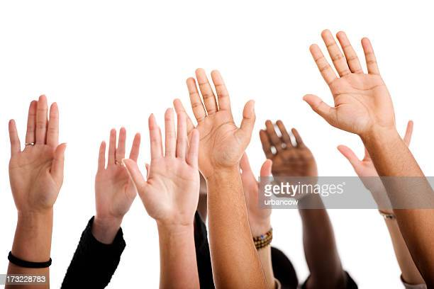 hands up - hand raised stock pictures, royalty-free photos & images