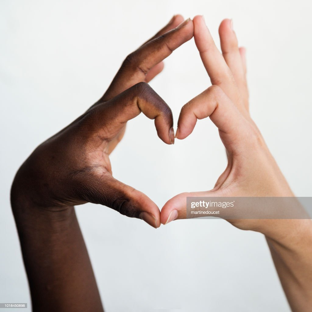 Hands with different skin colors on white background. : Stock Photo