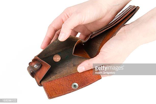 hands with old empty wallet