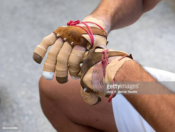 hands with protection of an athlete, ballplayer. - elastic bandage stock photos and pictures