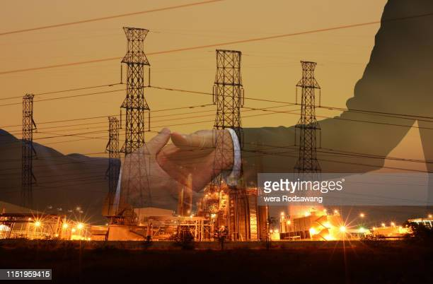 handshake agreement double exposure - conglomerate stock pictures, royalty-free photos & images