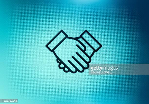 handshake icon on screen - coworker stock pictures, royalty-free photos & images