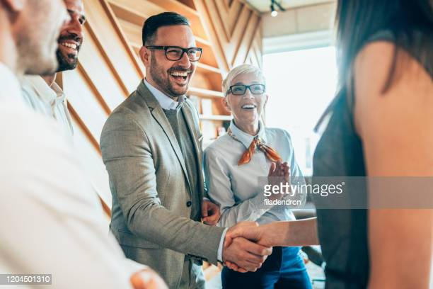 handshake of business people - interview event stock pictures, royalty-free photos & images