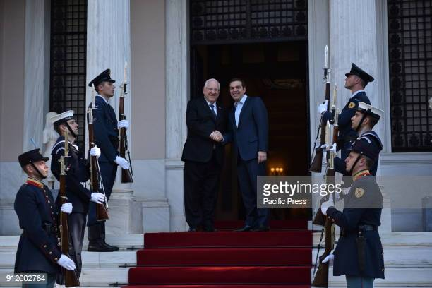 Handshake of President of israel Reuven Rivlin and Greek Prime Minister Alexis Tsipras in Maximou Mansion