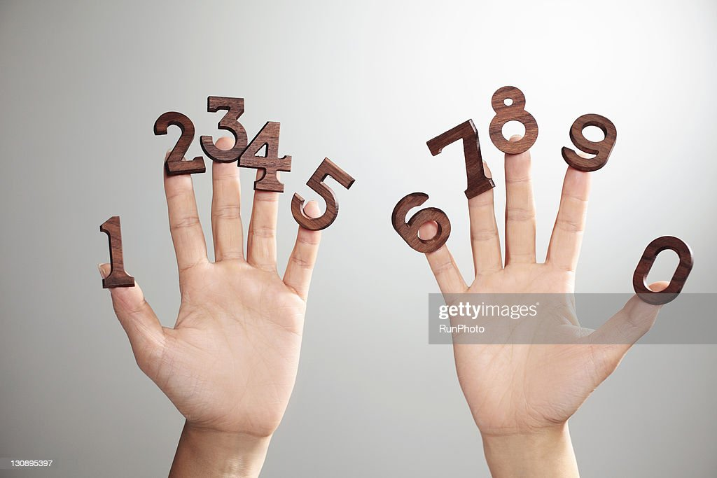 hands&numbers,hands close-up : Stock Photo