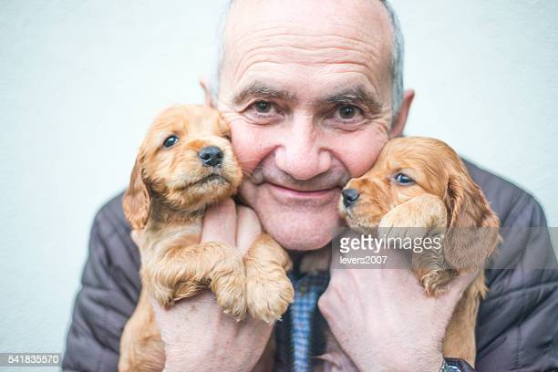 Handsom man with cocker spaniel pups
