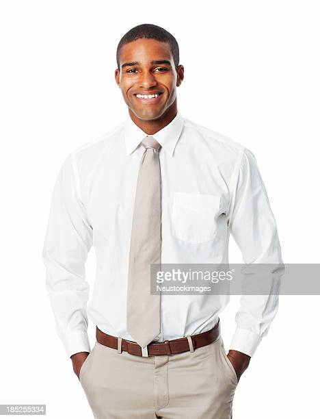 handsome african american businessman with hands in pockets - isolated - overhemd en stropdas stockfoto's en -beelden