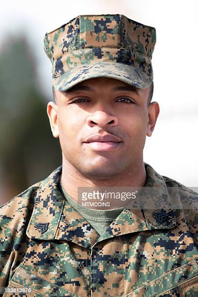 handsome african american marine - us marine corps stock pictures, royalty-free photos & images