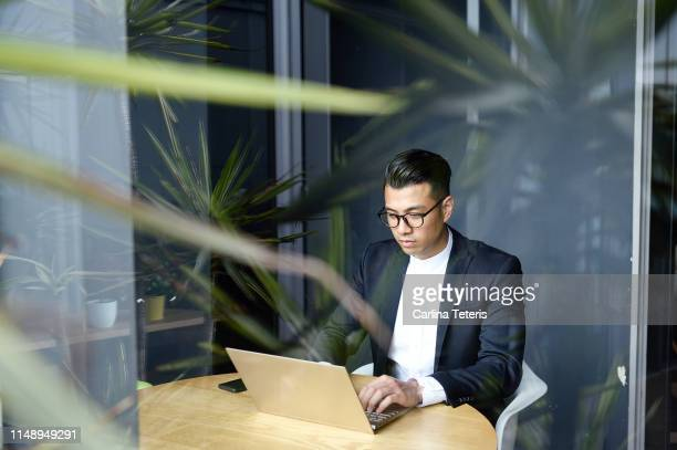 handsome asian man making online purchases with a credit card - questions environnementales photos et images de collection