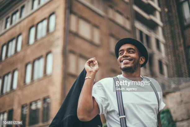 handsome black guy on the street - suspenders stock pictures, royalty-free photos & images