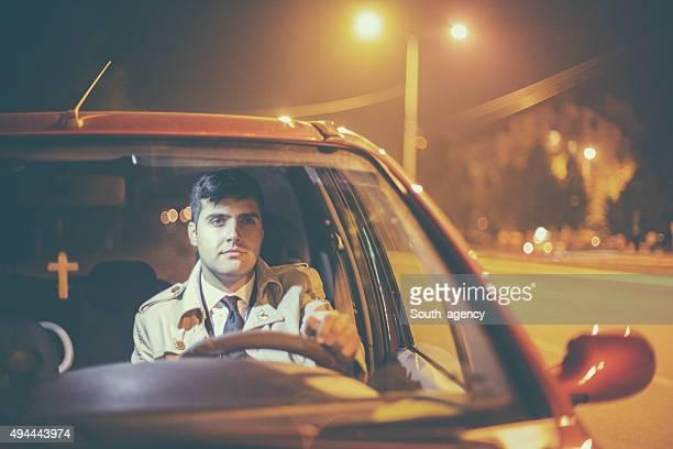 Handsome businessman in a car