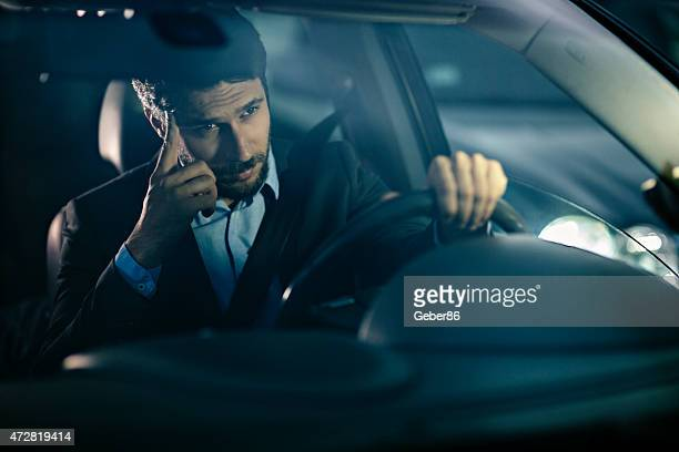 Handsome businessman in car
