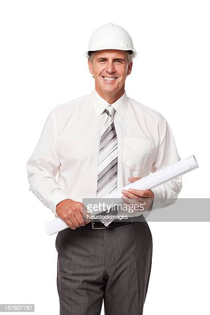 Handsome Businessman in Hardhat With Blueprints. Isolated
