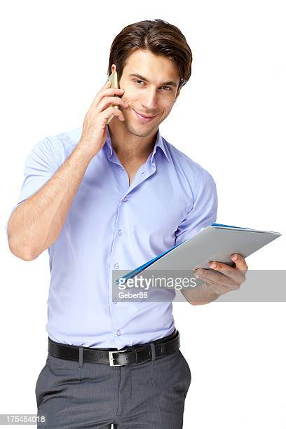 handsome businessman on cell phone - only young men stock pictures, royalty-free photos & images