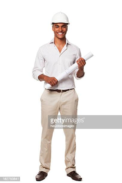Handsome Businessman With Hard Hat and Blueprints. Isolated
