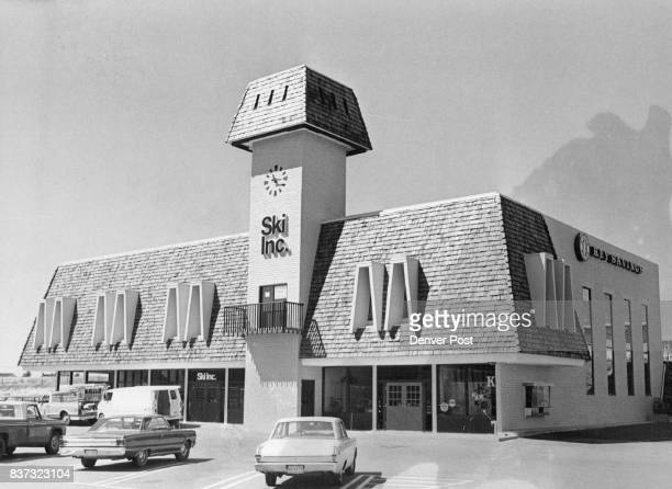 Handsome clocktower building at Southmoor Shopping Center houses Ski Inc one of Denver's oldest retail ski outlets The building was designed by...
