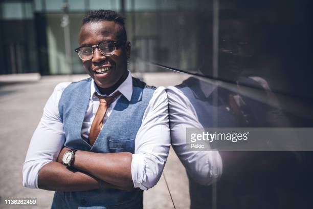 handsome elegant african businessman - waistcoat stock pictures, royalty-free photos & images