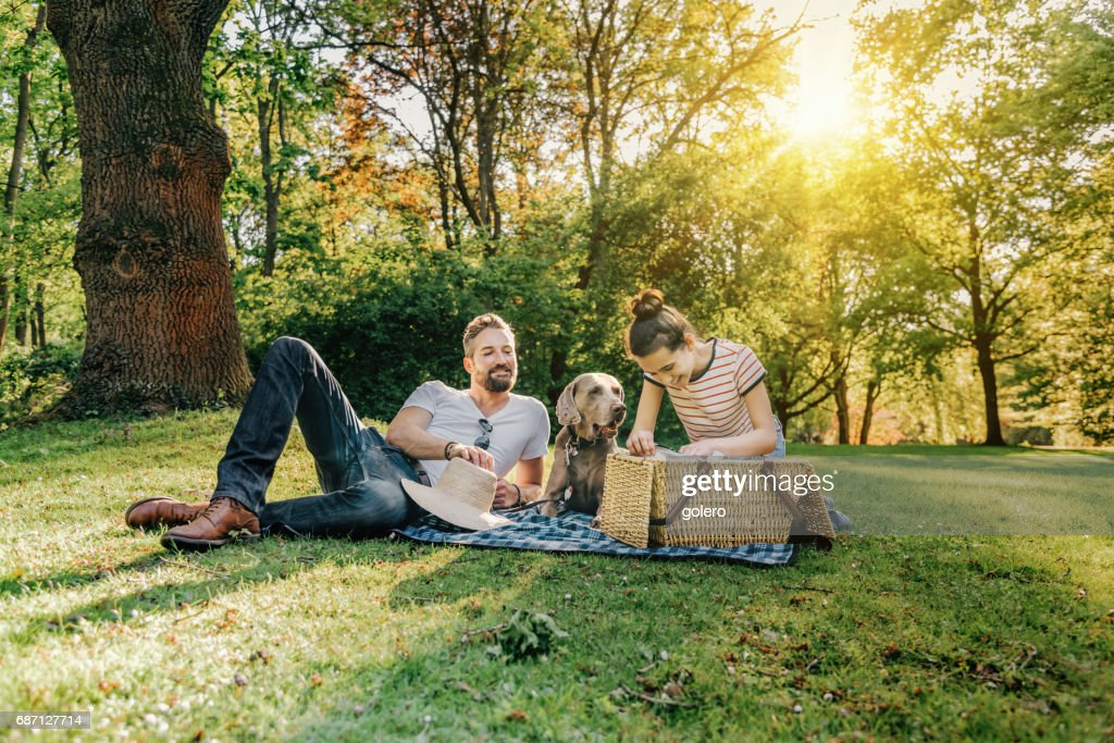 handsome father, teenage daughter and dog having picnic in park : Stock Photo