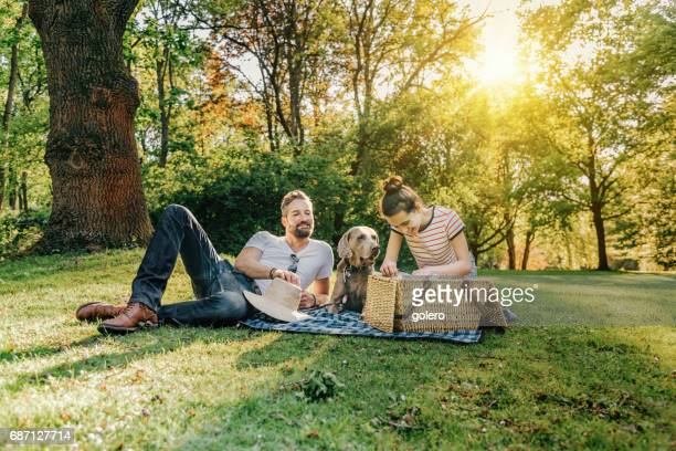 handsome father, teenage daughter and dog having picnic in park