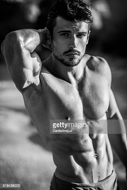 handsome fit man - male torso stock photos and pictures