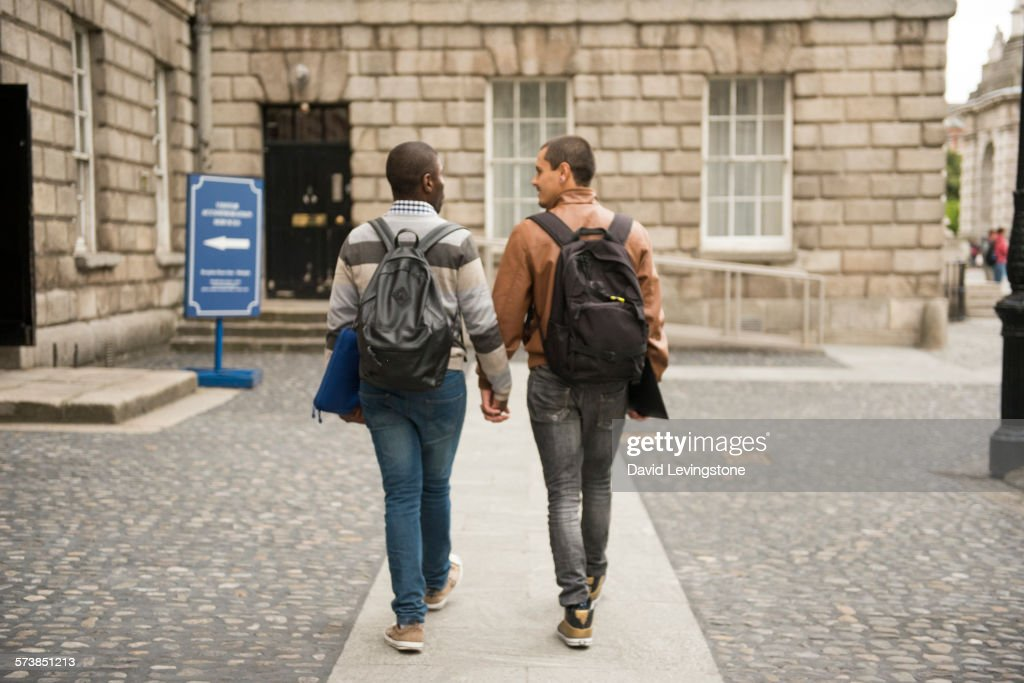Handsome gay couple on Campus : Stock Photo