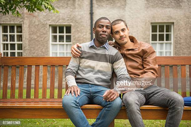 Handsome gay couple on Campus