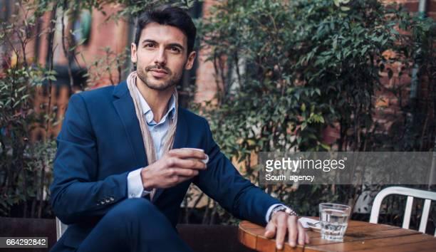 Handsome gentleman on coffee break