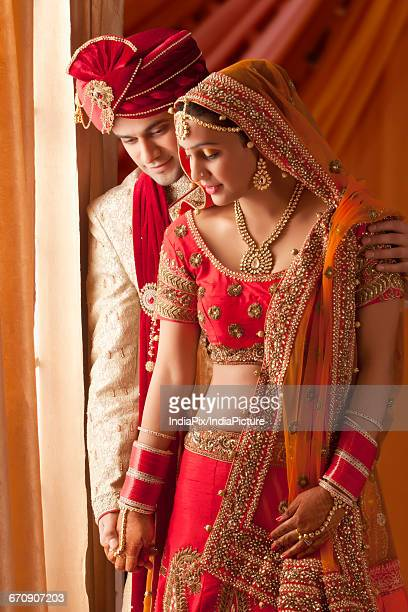 Handsome groom and beautiful bride , , young couple