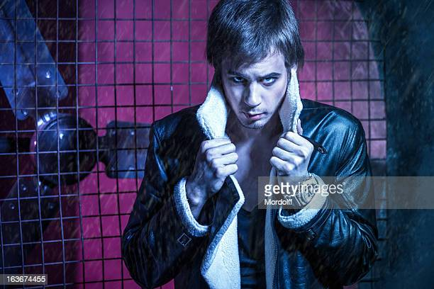 handsome guy in leather jacket - air raid shelter stock pictures, royalty-free photos & images
