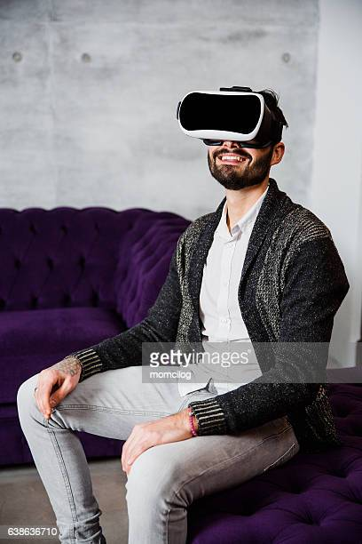 Handsome male in virtual reality