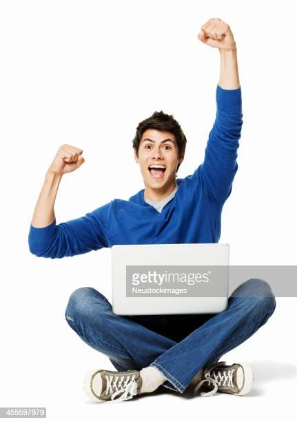 Handsome Man Cheering With a Laptop - Isolated