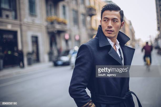 handsome man downtown - fashionable stock pictures, royalty-free photos & images