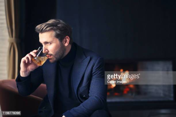 handsome man drink wine - whisky photos et images de collection