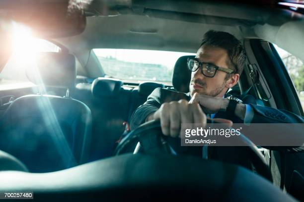 handsome man driving