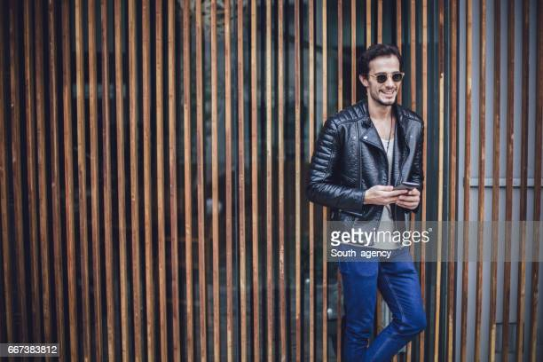 Handsome man in biker jacket
