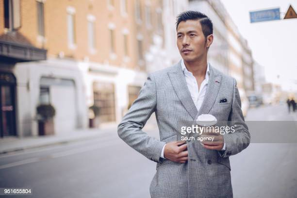 Handsome man in gray suit