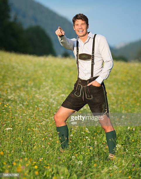 Handsome Man in Lederhosen Pointing (XXXL)