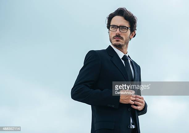 handsome man in suit - blue suit stock pictures, royalty-free photos & images